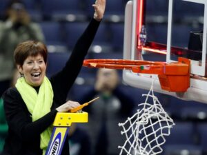 Coach McGraw after Notre Dame's 2018 NCAA Championship win